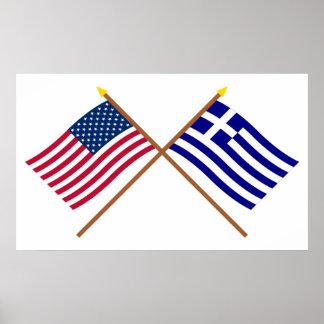 Los E.E.U.U. y banderas cruzadas Grecia Impresiones