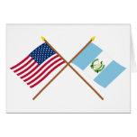 Los E.E.U.U. y banderas cruzadas Guatemala Tarjeta De Felicitación