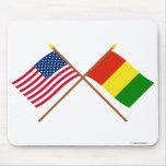 Los E.E.U.U. y banderas cruzadas Guinea Tapetes De Raton