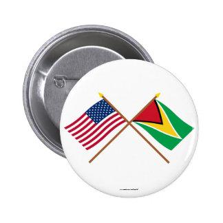 Los E.E.U.U. y banderas cruzadas Guyana Pins