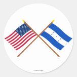 Los E.E.U.U. y banderas cruzadas Honduras Etiquetas Redondas