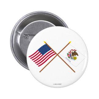 Los E E U U y banderas cruzadas Illinois Pins