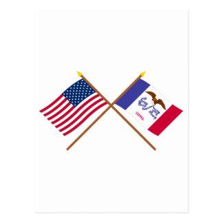 Los E.E.U.U. y banderas cruzadas Iowa Tarjeta Postal