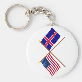Los E.E.U.U. y banderas cruzadas Islandia Llavero Redondo Tipo Pin