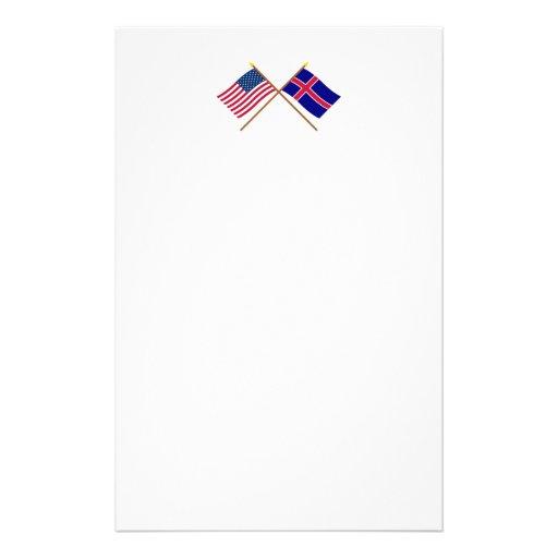 Los E.E.U.U. y banderas cruzadas Islandia Personalized Stationery
