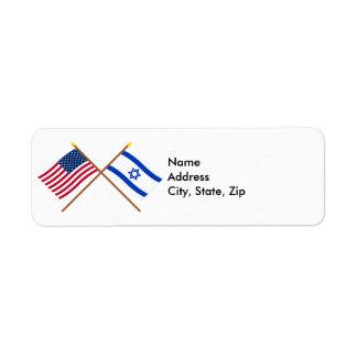 Los E.E.U.U. y banderas cruzadas Israel Etiqueta De Remitente