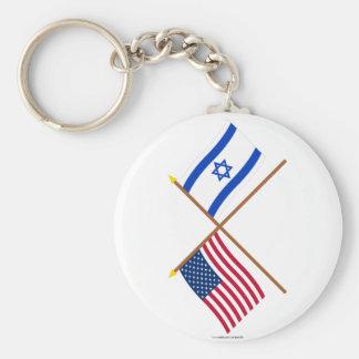 Los E.E.U.U. y banderas cruzadas Israel Llavero Redondo Tipo Pin