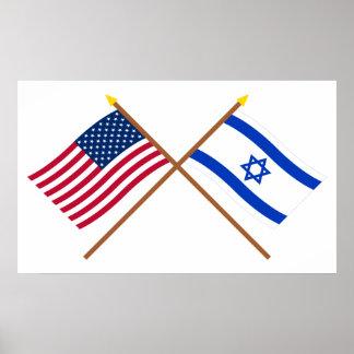 Los E E U U y banderas cruzadas Israel Posters