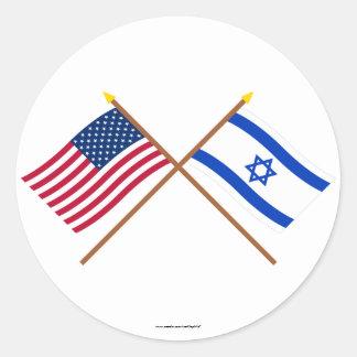 Los E.E.U.U. y banderas cruzadas Israel Pegatina Redonda