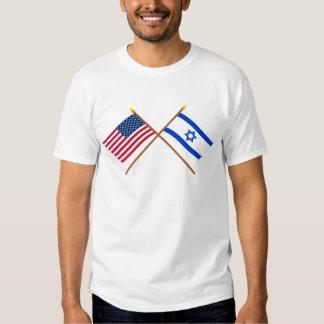 Los E.E.U.U. y banderas cruzadas Israel Polera