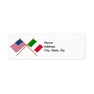 Los E.E.U.U. y banderas cruzadas Italia Etiquetas De Remite