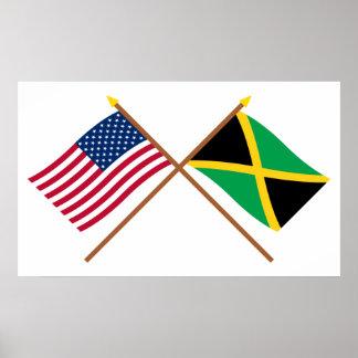 Los E.E.U.U. y banderas cruzadas Jamaica Posters
