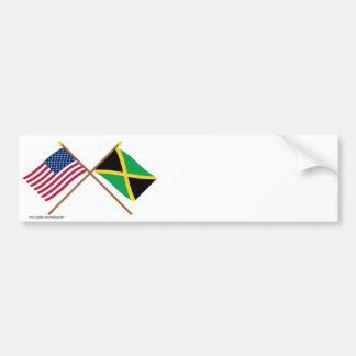 Los E.E.U.U. y banderas cruzadas Jamaica Pegatina Para Auto