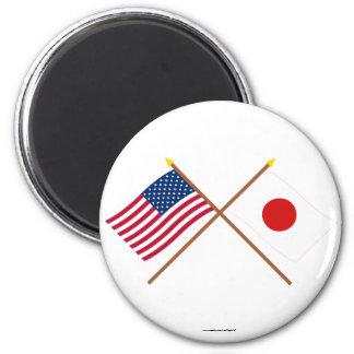 Los E.E.U.U. y banderas cruzadas Japón Iman De Frigorífico
