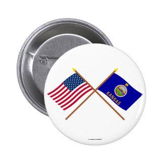 Los E.E.U.U. y banderas cruzadas Kansas Pin Redondo De 2 Pulgadas