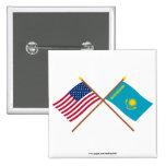 Los E.E.U.U. y banderas cruzadas Kazajistán Pins