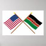 Los E.E.U.U. y banderas cruzadas Kenia Posters
