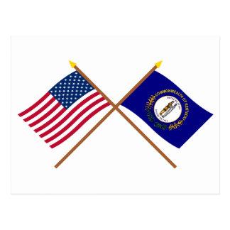 Los E.E.U.U. y banderas cruzadas Kentucky Postales