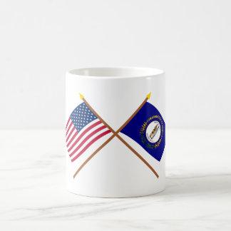 Los E.E.U.U. y banderas cruzadas Kentucky Taza De Café