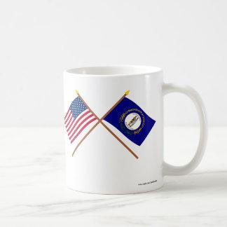 Los E.E.U.U. y banderas cruzadas Kentucky Tazas