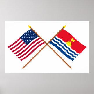 Los E.E.U.U. y banderas cruzadas Kiribati Póster