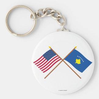 Los E.E.U.U. y banderas cruzadas Kosovo Llavero Redondo Tipo Pin