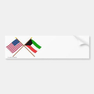 Los E.E.U.U. y banderas cruzadas Kuwait Pegatina De Parachoque