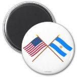 Los E.E.U.U. y banderas cruzadas la Argentina Imán De Nevera