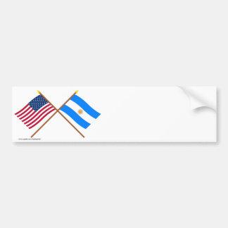 Los E.E.U.U. y banderas cruzadas la Argentina Pegatina Para Auto