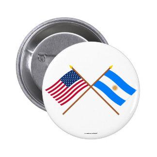 Los E.E.U.U. y banderas cruzadas la Argentina Pin Redondo De 2 Pulgadas