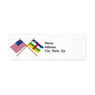Los E.E.U.U. y banderas cruzadas la República Etiqueta De Remite