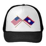 Los E.E.U.U. y banderas cruzadas Laos Gorras