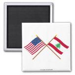 Los E.E.U.U. y banderas cruzadas Líbano Imanes Para Frigoríficos
