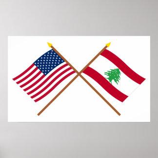 Los E.E.U.U. y banderas cruzadas Líbano Posters