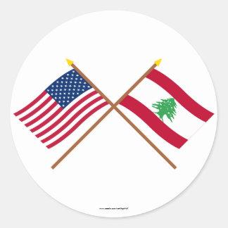 Los E.E.U.U. y banderas cruzadas Líbano Pegatina Redonda