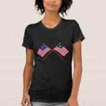 Los E.E.U.U. y banderas cruzadas Liberia Camisetas