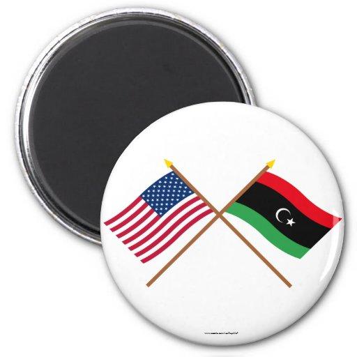 Los E.E.U.U. y banderas cruzadas Libia Imán Redondo 5 Cm