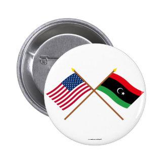Los E.E.U.U. y banderas cruzadas Libia Pin Redondo De 2 Pulgadas