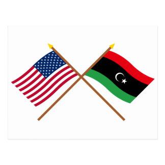 Los E.E.U.U. y banderas cruzadas Libia Postal