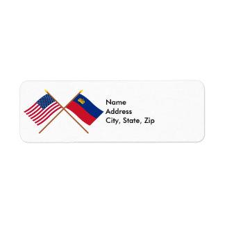 Los E.E.U.U. y banderas cruzadas Liechtenstein Etiqueta De Remitente