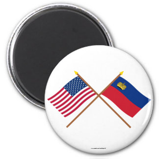 Los E.E.U.U. y banderas cruzadas Liechtenstein Imán Redondo 5 Cm