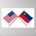 Los E.E.U.U. y banderas cruzadas Liechtenstein Posters