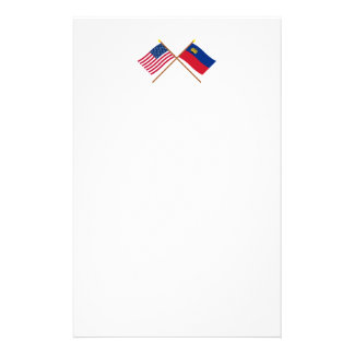 Los E.E.U.U. y banderas cruzadas Liechtenstein Papelería De Diseño