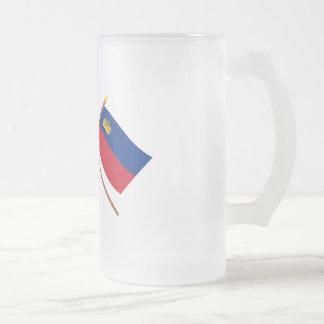 Los E.E.U.U. y banderas cruzadas Liechtenstein Taza De Cristal