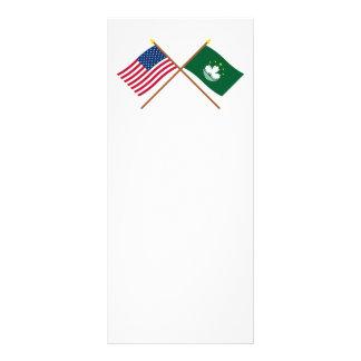 Los E.E.U.U. y banderas cruzadas Macao Plantilla De Lona