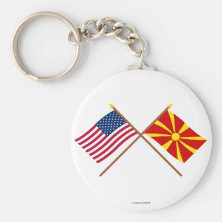 Los E.E.U.U. y banderas cruzadas Macedonia Llavero