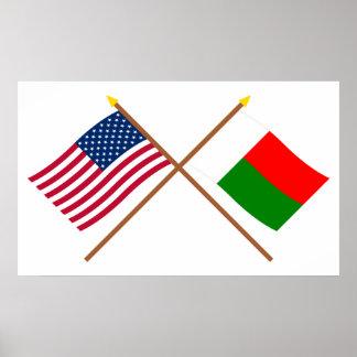 Los E.E.U.U. y banderas cruzadas Madagascar Impresiones