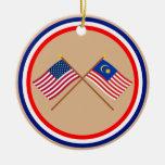 Los E.E.U.U. y banderas cruzadas Malasia Adornos De Navidad