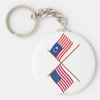 Los E.E.U.U. y banderas cruzadas Malasia Llavero Redondo Tipo Pin