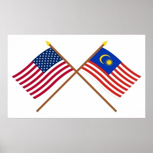 Los E.E.U.U. y banderas cruzadas Malasia Posters